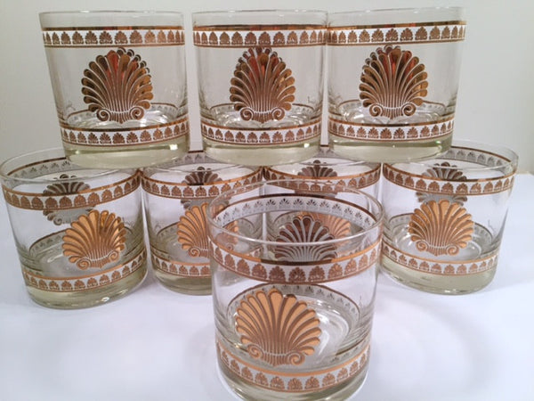 Georges Briard Signed Mid-Century 22-Karat Gold Sea Shell Lowball Glasses (Set of 8)