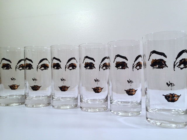 Mid-Century Glamour Gal Face Glasses (Set of 6)