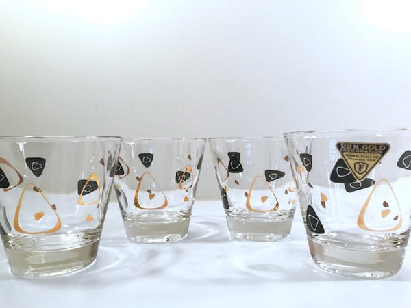 Federal Glass Mid-Century Black and 22-Karat Gold Amoeba Boomerang Old Fashion Glasses (Set of 4)