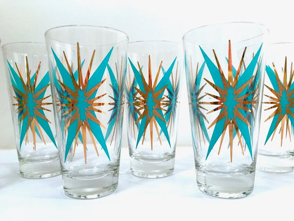 Federal Glass Mid-Century Atomic Turquoise and 22-Karat Gold Starburst Glasses (Set of 8 with Original Box)