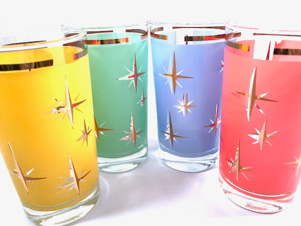 Mid-Century Atomic North Star Cocktail Glasses (Set of 4)