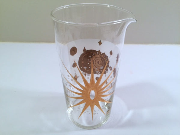 Fred Press Signed Mid-Century Frosted White & 22-Karat Gold Atomic Starburst Pitcher