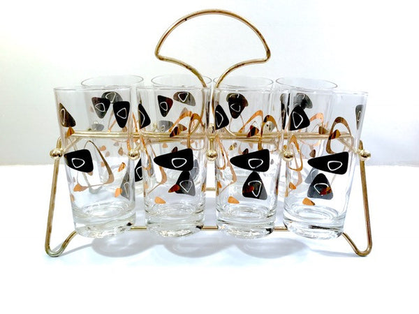 Federal Glass Mid-Century Black and 22-Karat Gold Amoeba Boomerang Glasses (Set of 8 and Carrier)