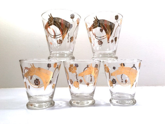 Fred Press Signed Mid-Century 22-Karat Gold Horse Derby Whiskey Glasses (Set of 5)