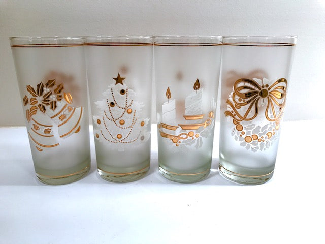 Culver Mid-Century 22-Karat Gold & White Christmas Highball Glasses (Set of 4)