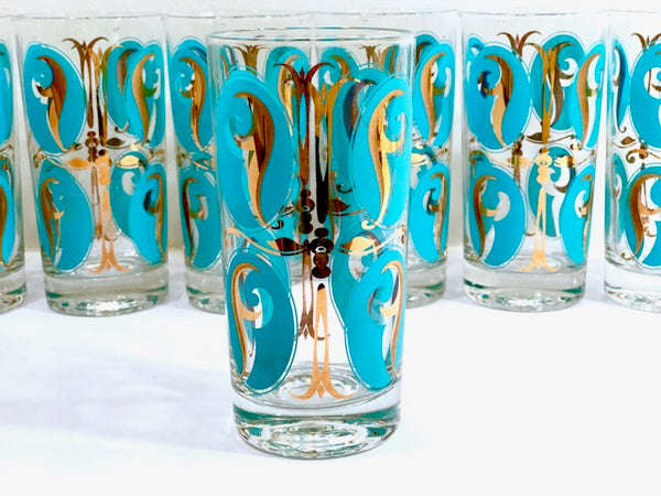 Mid-Century Abstract Turquoise and 22-Karat Gold Glasses (Set of 7)