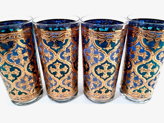 Georges Briard Signed Mid-Century Firenza Blue and 22-Karat Gold Italian Renaissance Cross Highball Glasses (Set of 4)