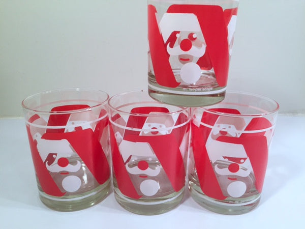 M.W. Periscope Mid-Century Mod Santa Double Old Fashion Glasses (Set of 4)