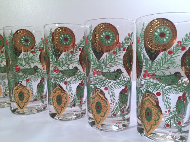 Culver Signed Mid-Century Christmas Tree with Bird and Ornament Highball Glasses (Set of 8)
