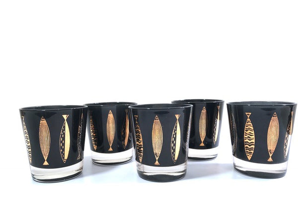 Fred Press Signed Mid-Century Black & 22-Karat Gold Fish Whiskey Glasses (Set of 5)
