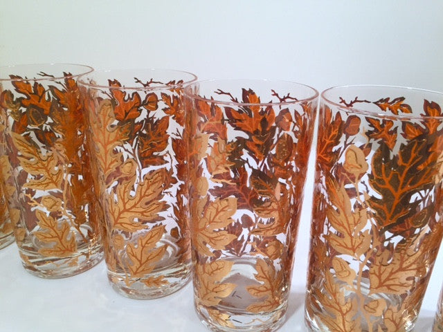 Culver Signed Mid-Century 22-Karat Gold Foliage Glasses (Set of 8)