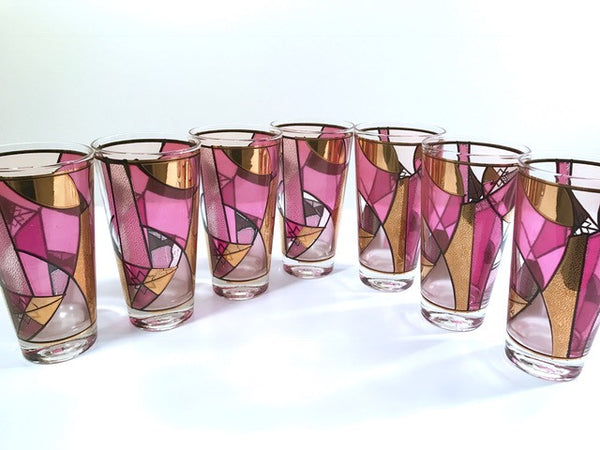 Ned Harris Signed Mid-Century Pink and Purple Abstract Highball Glasses (Set of 7)