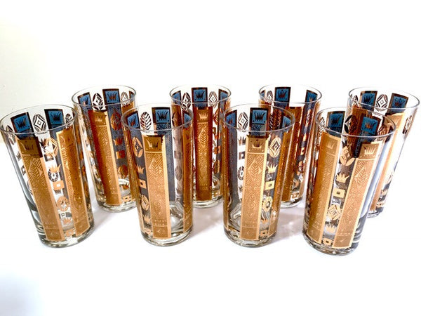 Georges Briard Signed Mid-Century Golden Crown Highball Glasses (Set of 8)