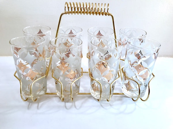 Libbey Mid-Century Atomic Circle Glasses and Carrier (Set of 8)