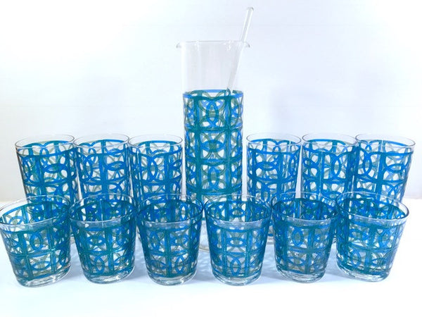 Pasinski Signed Mid-Century Blue and Green 14-Piece Cocktail Set