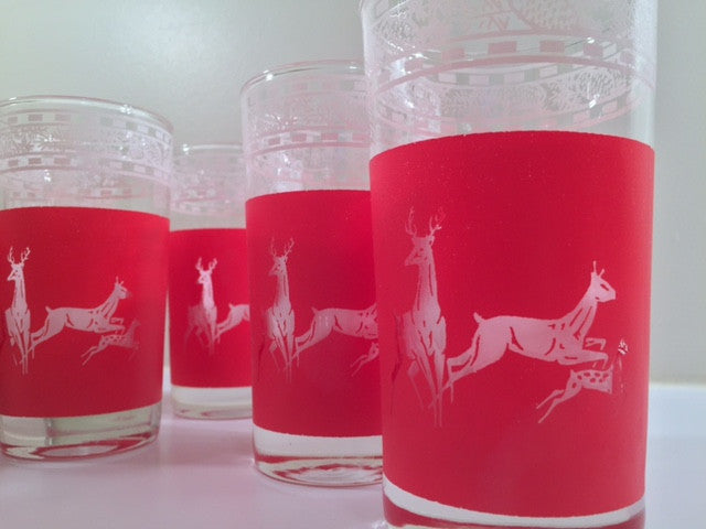 Libbey Mid-Century Reindeer Christmas Glasses - Rare Stock Pattern (Set of 8)
