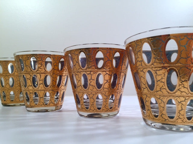 Culver - Signed Mid-Century Pisa 22-Karat Gold Low-Ball Rock Glasses (Set of 4)