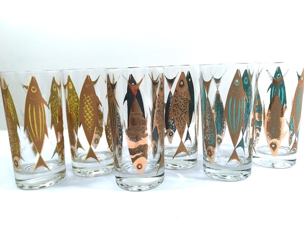 Fred Press Signed Mid-Century Fish Glasses (Set of 6)
