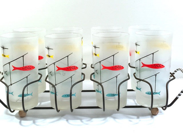 Mid-Century Fishing Lure Glasses with Carrier (Set of 8)