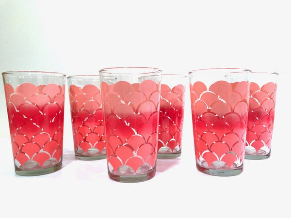 Federal Glass Mid-Century Pink Deco Shell Glasses (Set of 6)
