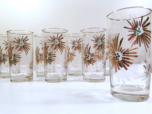 Libbey Mid-Century Partytime Firecracker Glasses With Original Box (Set of 8)