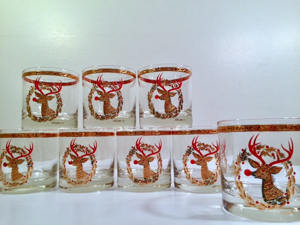 Culver Signed Mid-Century Rudolph The Red Nose Reindeer Old Fashion Glasses - Rare (Set of 8)