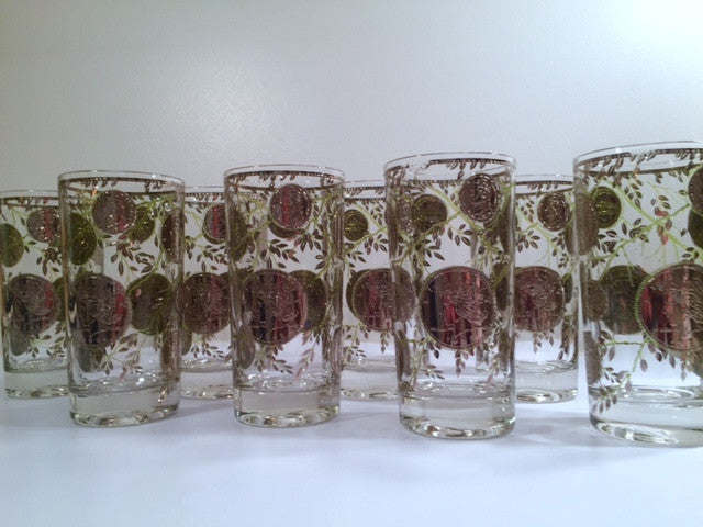 Culver Signed Mid-Century Silver Coin Glasses (Set of 8)