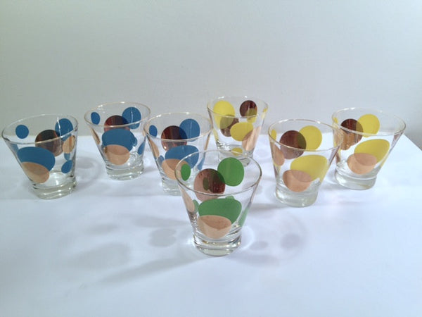 Russel Wright Mid-Century Bright Blue, Green, Yellow & 22-Karat Gold Eclipse Double Old Fashion Glasses (Set of 7)