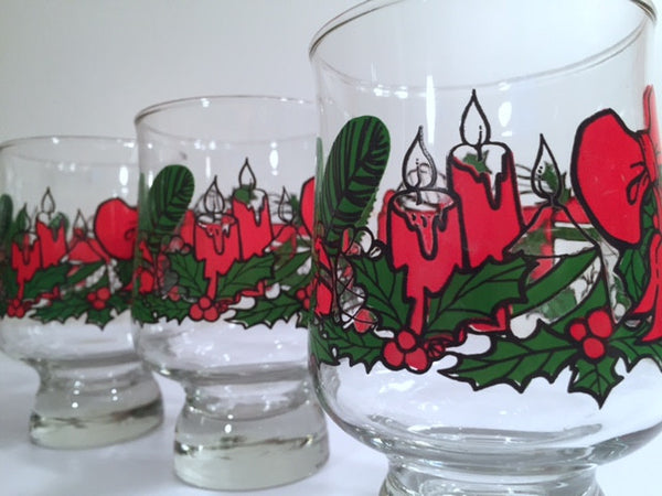 Mid-Century Vintage Christmas Glasses (Set of 7)
