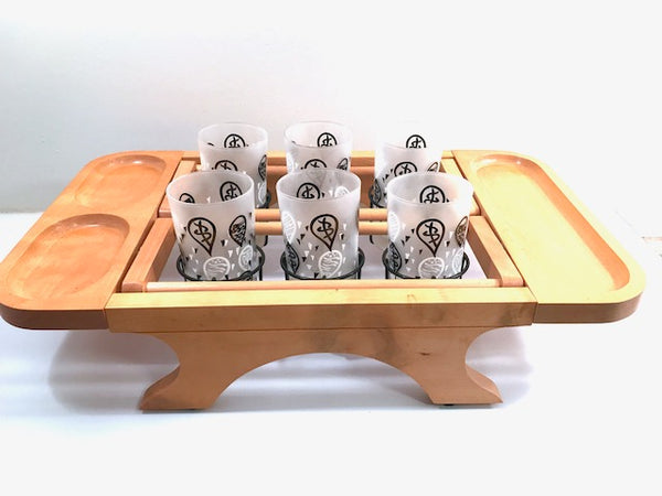 Karoff Original Mid-Century Kant-Spill Drink-N-Snack Server Bar Set (Set of 6 with Wood Carrier)