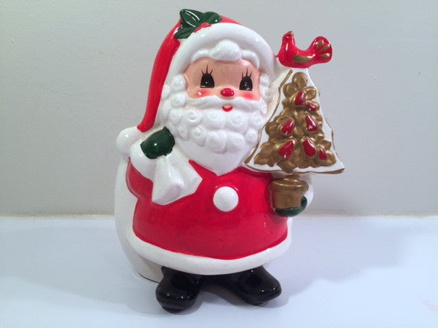 Napco Vintage Santa Candy Holder / Planter
