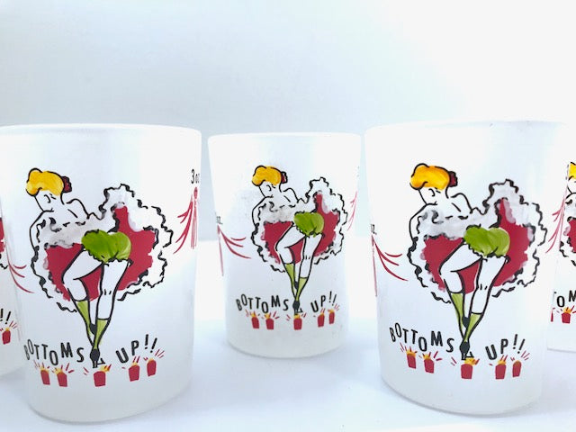 Gay Fad Can Can Girls Bottoms Up Mid-Century Glasses (Set of 6)