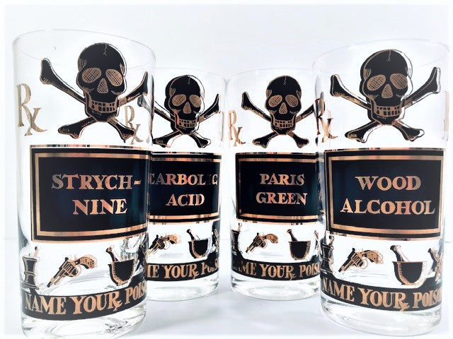 Georges Briard Mid-Century Name Your Poison Glasses (Set of 4)