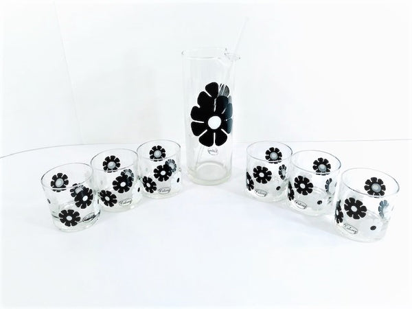 Colony Signed Mid-Century Black and White Moon Flower 8-Piece Set