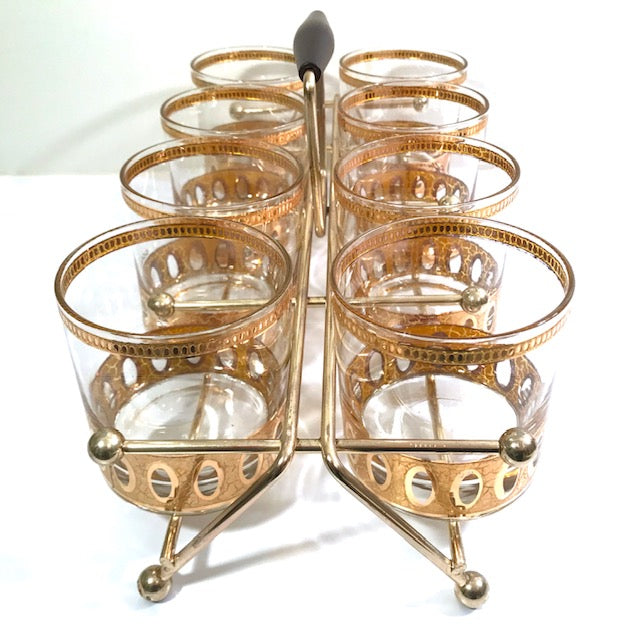 Culver Signed Antigua Mid-Century 22-Karat Gold Rock Glasses (Set of 8) with Atomic Carrier