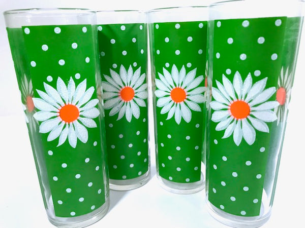 Pasinski Mid-Century Signed Daisy Tall Collins Glasses (Set of 4)