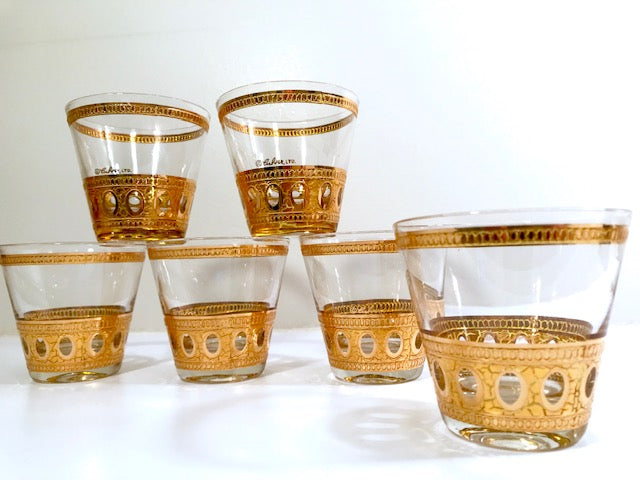 Culver Signed Antigua Mid-Century 22-Karat Gold Old Fashion Rock Glasses (Set of 6)