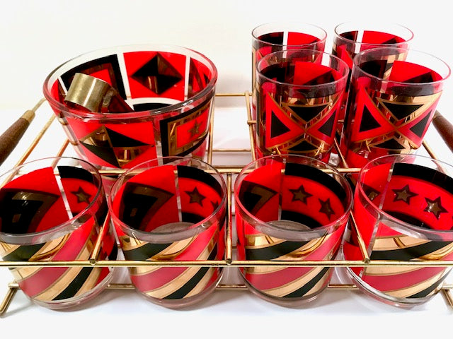 Mid-Century Geometric Red, Black and Gold 11-Piece Bar Set