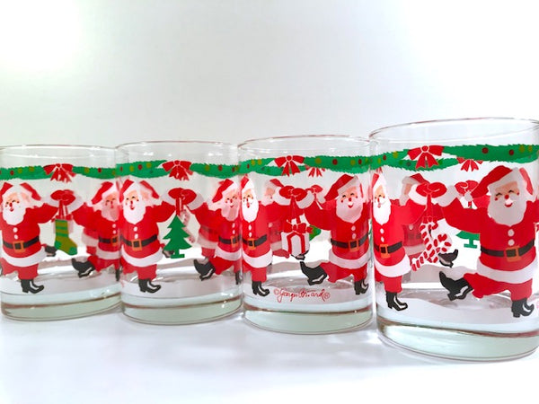 Georges Briard Signed Mid-Century Dancing Santa Double Old Fashion Glasses (Set of 4)