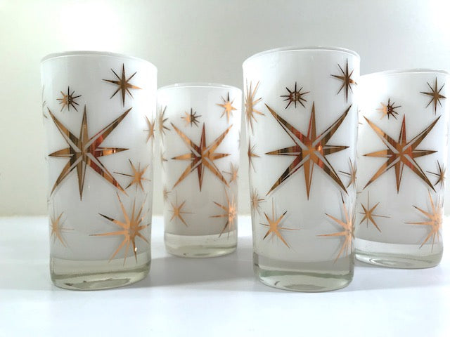 Federal Glass Mid-Century Frosted White Atomic & 22-Karat Gold Star Glasses (Set of 4)
