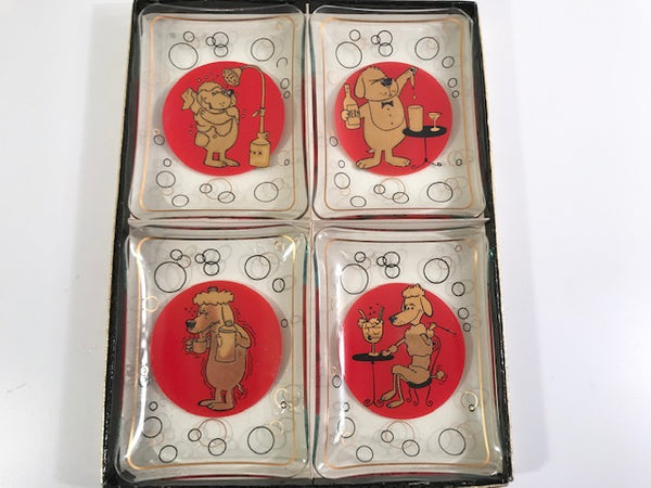 Vintage Mid-Century Cartoon Dog Appetizer Plate Set (Set of 4)