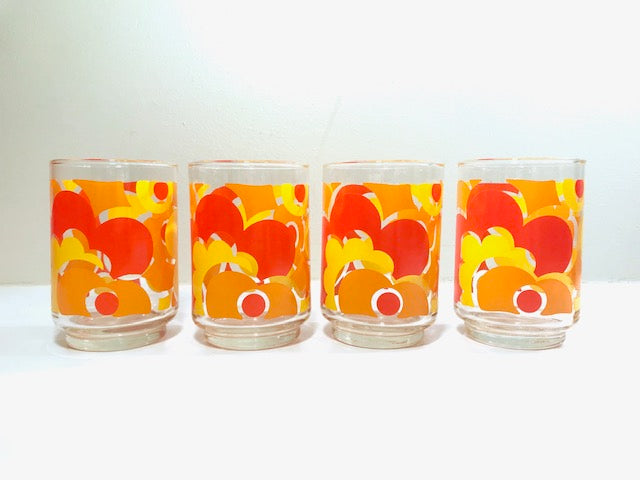 Libbey Mid-Century Orange & Yellow Flower Power Glasses (Set of 4)