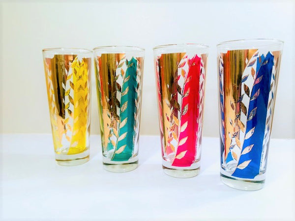 D Campbell Signed Mid-Century Leaf Tall Collins Glasses (Set of 4)