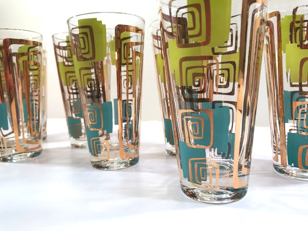 Gay Fad Signed Mid-Century Chartreuse and Aqua Atomic Glasses (Set of 7)
