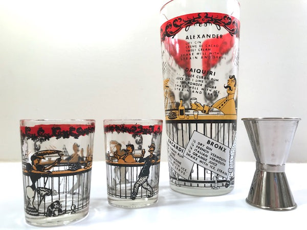 Hazel Atlas Gay 90's 4-Piece Cocktail Bar Set