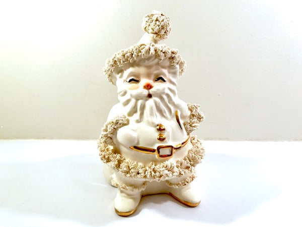 Napco White and Gold  Spaghetti Trimmed Santa