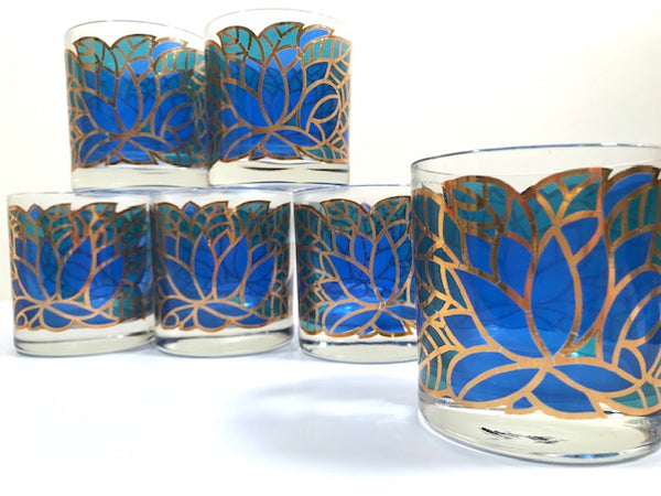Georges Briard Signed Mid-Century Abstract Mosaic Glasses (Set of 6)