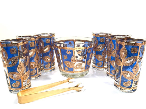Culver Signed Mid-Century Blue and Gold Leaf 8-Piece Bar Set