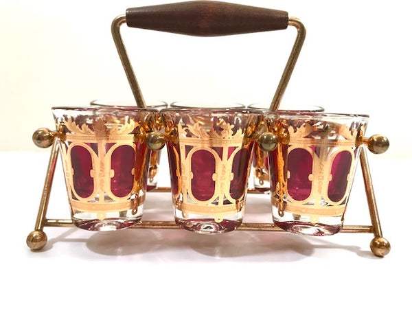 Culver Signed Mid-Century Cranberry Scroll Shot Glasses With Atomic Carrier (Set of 6)