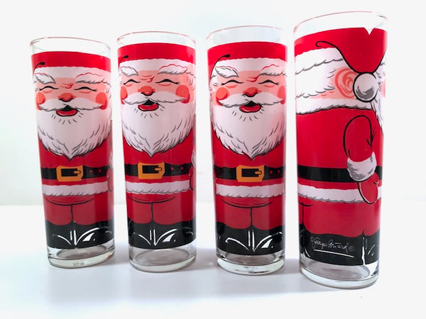 Georges Briard Signed Vintage Santa Tall Collins Glasses (Set of 4)